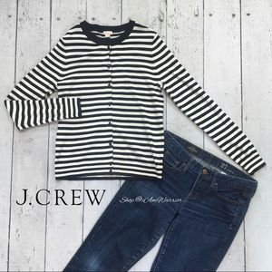 J. Crew striped crewneck cotton cardigan